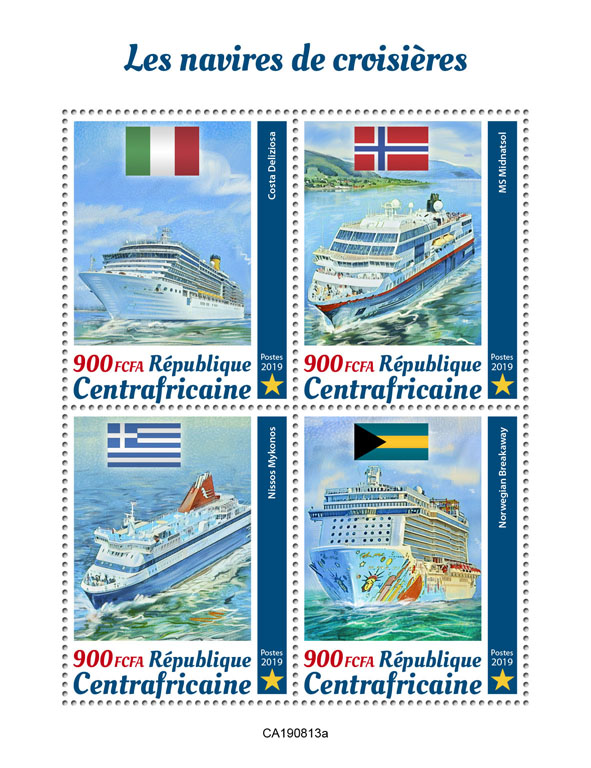 Cruise ships - Issue of Central African republic postage stamps