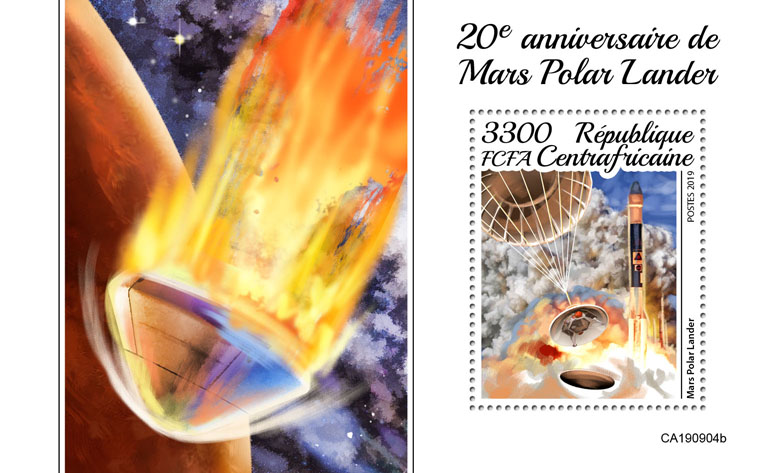 Mars Polar Lander - Issue of Central African republic postage stamps