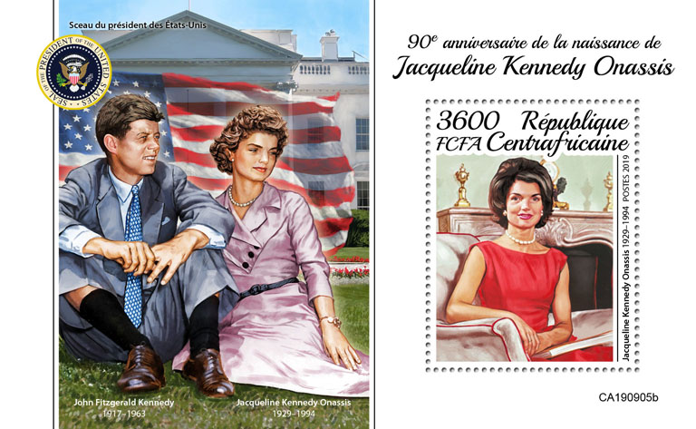 Jaqueline Kennedy Onassis - Issue of Central African republic postage stamps