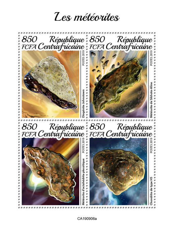 Meteorites - Issue of Central African republic postage stamps