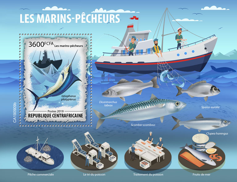 Fishing - Issue of Central African republic postage stamps