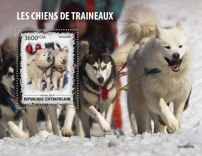 Sled dogs - Issue of Central African republic postage stamps