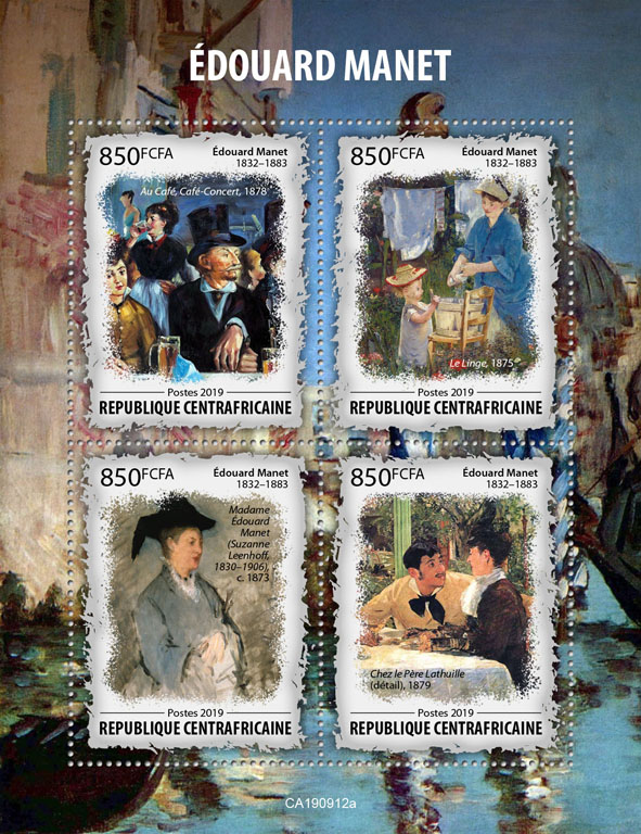 Édouard Manet - Issue of Central African republic postage stamps