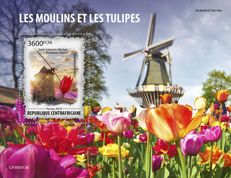 Mills and tulips - Issue of Central African republic postage stamps