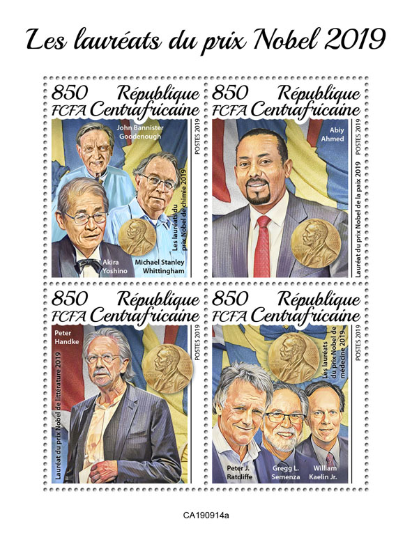 Nobel prize winners - Issue of Central African republic postage stamps