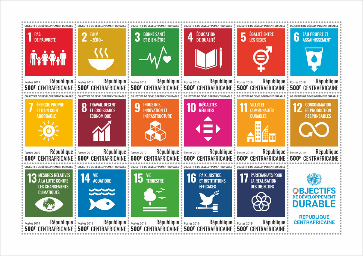 Sustainable development goals - Issue of Central African republic postage stamps