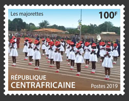 Cheerleaders - Issue of Central African republic postage stamps